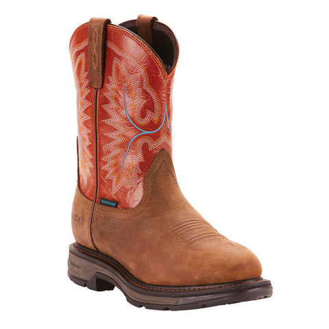 Ariat® Men's Workhog XT Waterproof Rye Brown Brick Work Boots 10024965 - Wild West Boot Store