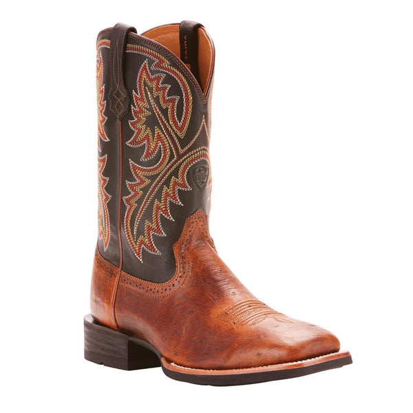 Ariat® Men's Quickdraw Matte Brown Smooth Quill Ostrich Boots 10025172 - Wild West Boot Store