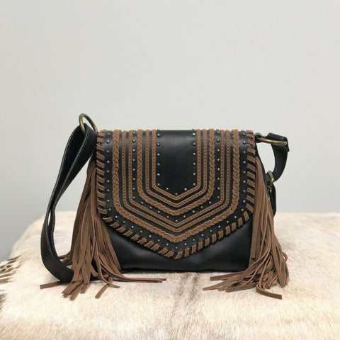 Kindred Soul Brown and Black Leather Peyton Crossbody 1579466B