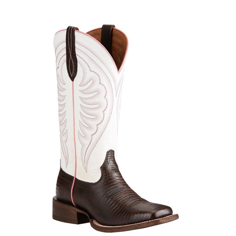 Ariat® Ladies Circuit Shiloh Brown Lizard Print & White Boots 10021611 - Wild West Boot Store