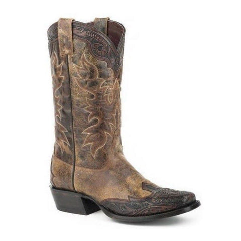 Stetson Men's Brown Tooled Leather Boot 12-020-8663-0777 - Wild West Boot Store