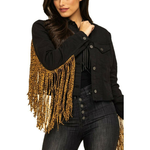 Scully Ladies Leopard Fringe Black Denim Jacket HC662-BLK