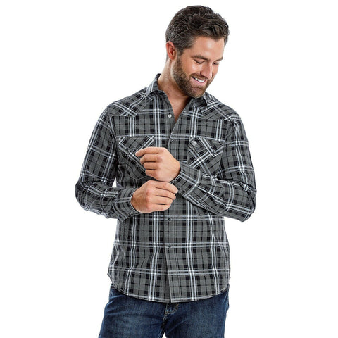 Wrangler Men's Black and White Plaid Button Down Shirt MVR454X