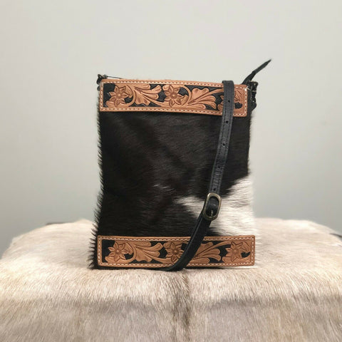 American Darling Brown and White Cowhide Crossbody ADBGS200BKW