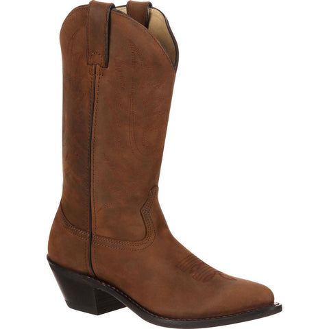 Durango Ladies Distressed Wild Tan Traditional Western Boots RD4112 - Wild West Boot Store