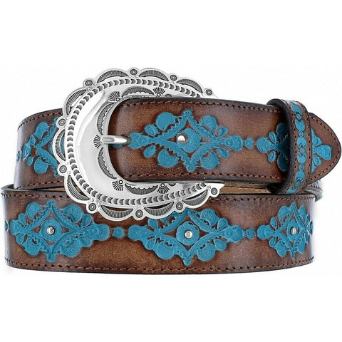 Justin Ladies Brown Anasazi Turquoise Belt C21465