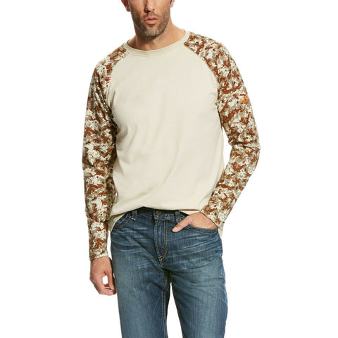 Ariat® Men's FR Sand & Digi Camo Baseball Tee Shirts 10023955