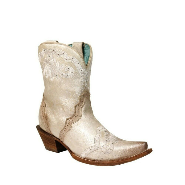 Corral Ladies Bone Embroidery & Swarovsky Crystal Ankle Boot C3188