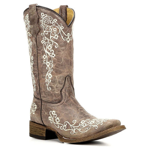 Corral Kids Bone Embroidered Cowhide Square Toe Boot A2980 - Wild West Boot Store - 1
