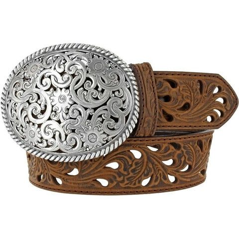 Tony Lama Ladies Bark Pierced Filigree Trophy Belt C50029