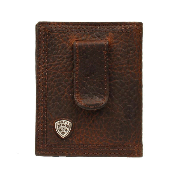 Ariat Men's Dark Brown Front Pocket Money Clip Bifold Wallet A35124282