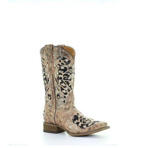 Corral Teens Tan & Black Glitter Inlay & Embroidery Boots T0042