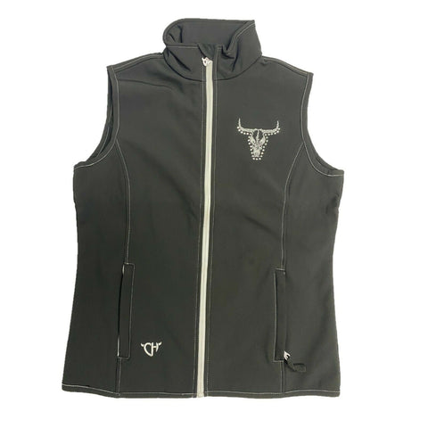 Cowgirl Hardware Ladies Black Vine Skull Vest 287149-010