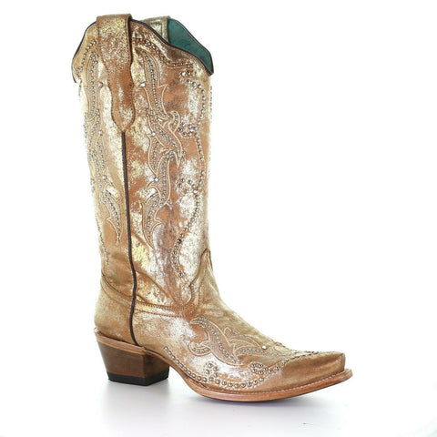 Corral Ladies Metallic Gold Embroidery & Crystals Boot E1625