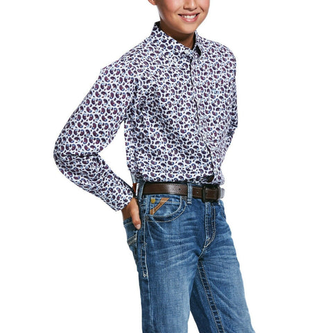 Ariat® Boy's White Talladega Casual Series Long Sleeve Shirt 10031819