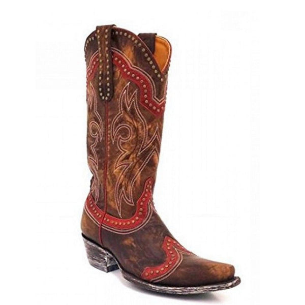 Old Gringo Ladies Victorya Vesuvio Bone & Red Boots L1496-1 - Wild West Boot Store