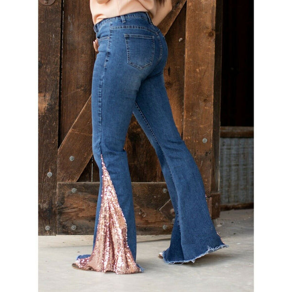 L&B Ladies Bell Bottom Jeans with Rose Gold Sequin Insert 1LB18087-RGS