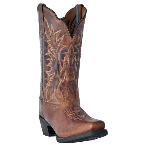 Laredo Ladies Malinda Distressed Tan Square Toe Western Boots 51134