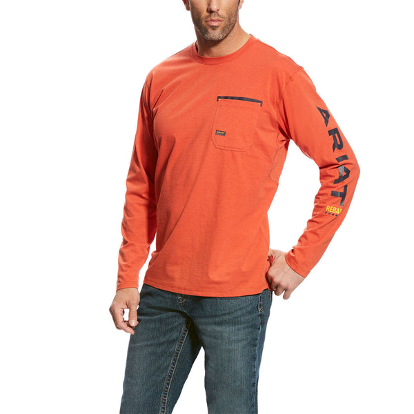 Ariat® Men's Rebar Workman Orange Long Sleeve Logo T-Shirts 10023922
