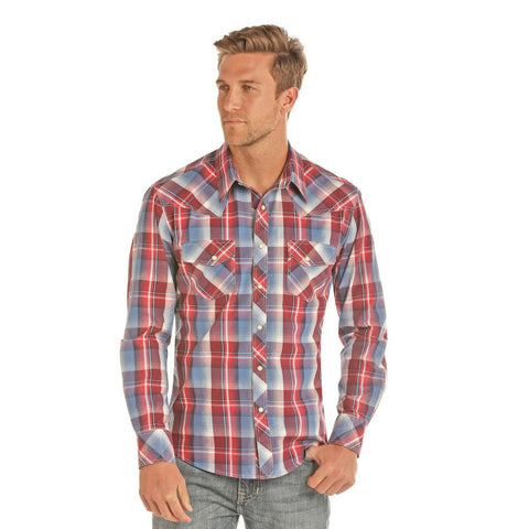 Rock & Roll Cowboy Men's Crinkle Washed Yarndye Plaid Shirts B2S1151
