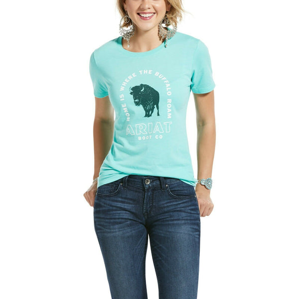Ariat Ladies Buffalo Roam Mint Heather Short Sleeve T-Shirt 10033420
