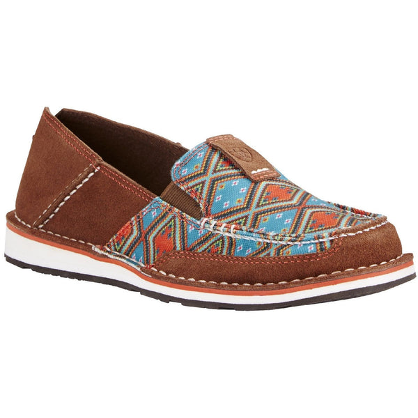 Ariat® Ladies Cruiser Saddle Tan Suede/Aztec Print Shoe 10019890 - Wild West Boot Store
