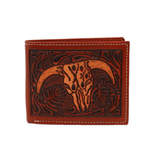 3D Belt Men's Floral Steer Head Bi Fold Wallet DW907