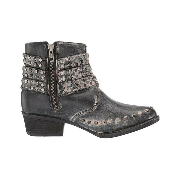 Corral Ladies Black Zipper & Studded Straps Round Toe Booties Q5095