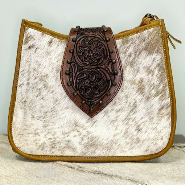 American Darling Brown and White Cowhide Purse ADBGS101TAW
