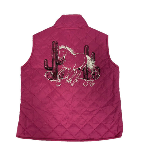 Cowgirl Hardware Girls Hot Pink Cactus Horse Quilted Vest 486163-153