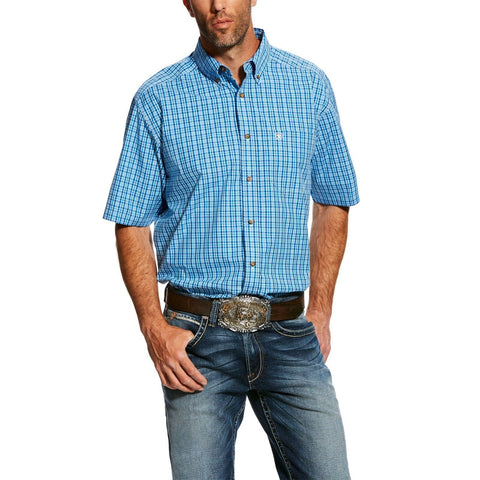 Ariat® Men's Awash Blue Eatherton Short Sleeve Button Shirt 10025536 - Wild West Boot Store