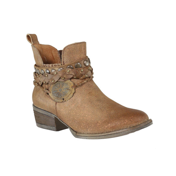 Circle G by Corral Ladies Brown Harness & Stud Ankle Boots Q5003 - Wild West Boot Store