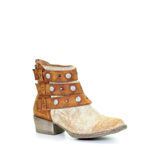 Corral Ladies Camel Harness & Studs Round Toe Ankle Boots Q5081