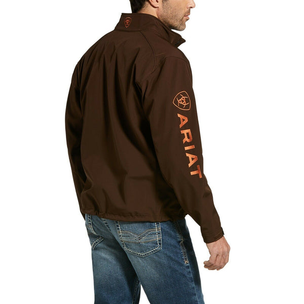 Ariat® Men's Logo 2.0 Softshell Dark Brew & Orange Jacket 10032932