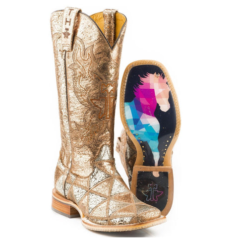 Tin Haul Ladies Mish & Mash Metallic Patchwork Boots 14-021-0007-1352