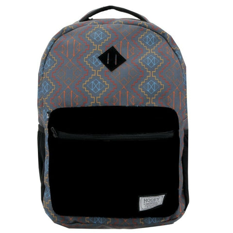 Hooey Aztec Print With Black Pocket Recess Backpack Bag BP028BK