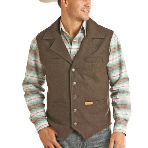 Powder River Outfitters Men's Wool Brown Vest 98-1176-23