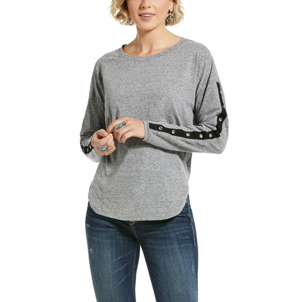 Ariat® Ladies Grey & Black Blurred Line Long Sleeve Top 10032813