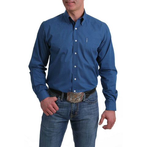 Cinch Men's Blue Modern Fit Long Sleeve Button-Down Shirt MTW1343107