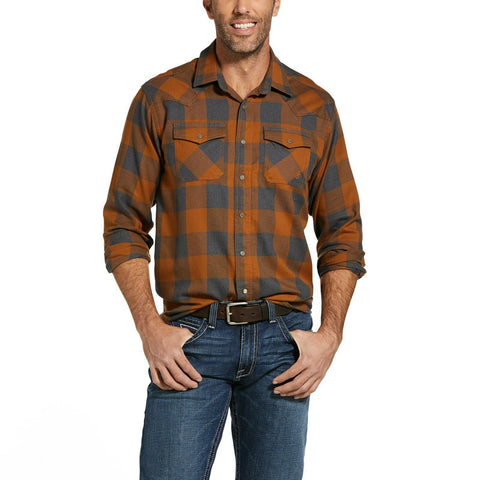 Ariat® Men's Hayward Retro Cedarwood Long Sleeves Snap Shirt 10032890