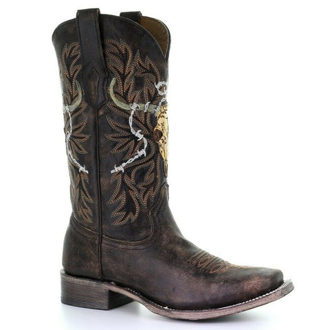 Corral Men's Chocolate Skull & Embroidery Square Toe Boots A3767