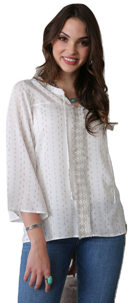Cinch Ladies White Rayan Crochet Trim Peasant Top CTW7222001