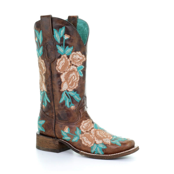 Corral Ladies Brown Floral Embroidered Boot A3527 - Wild West Boot Store