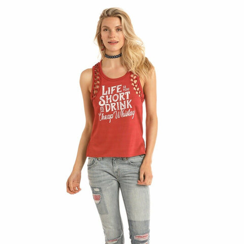 Rock & Roll Cowgirl Red Graphic Tank 49-9363