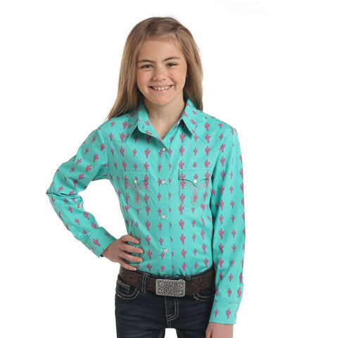 Panhandle Children's Cactus Printed Long Sleeve Snap Shirt C6S3760