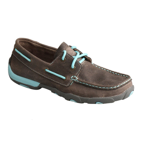 Twisted X Ladies Gray & Blue Driving Mocs WDM0098