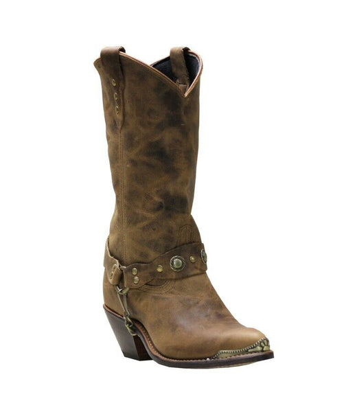 "Sage By Abilene Ladies Tan Distressed 11"" J-Toe Cowhide Boots 4528"