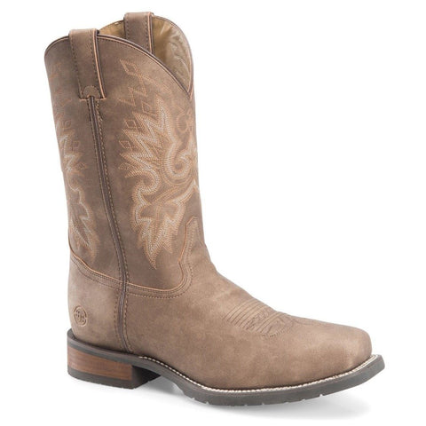 "Double-H Men's Wide Square Toe 11"" Brown Work Western Boots DH7000"