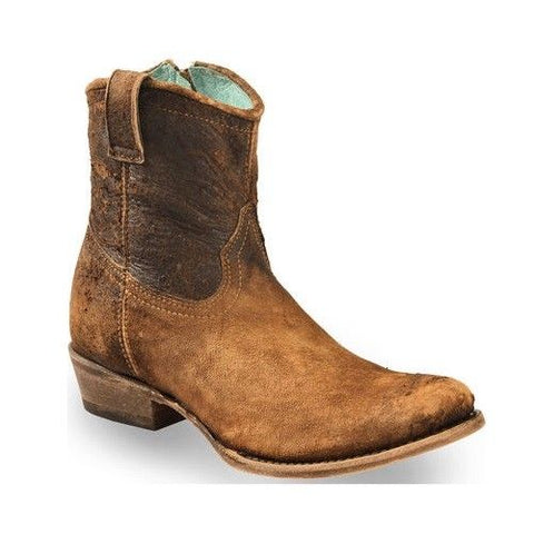 Corral Ladies Chocolate-Tan Lamb Abstract Short Top Boot C1064 - Wild West Boot Store