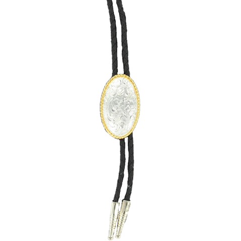 Double S Silver & Gold Floral Bolo Tie 22802